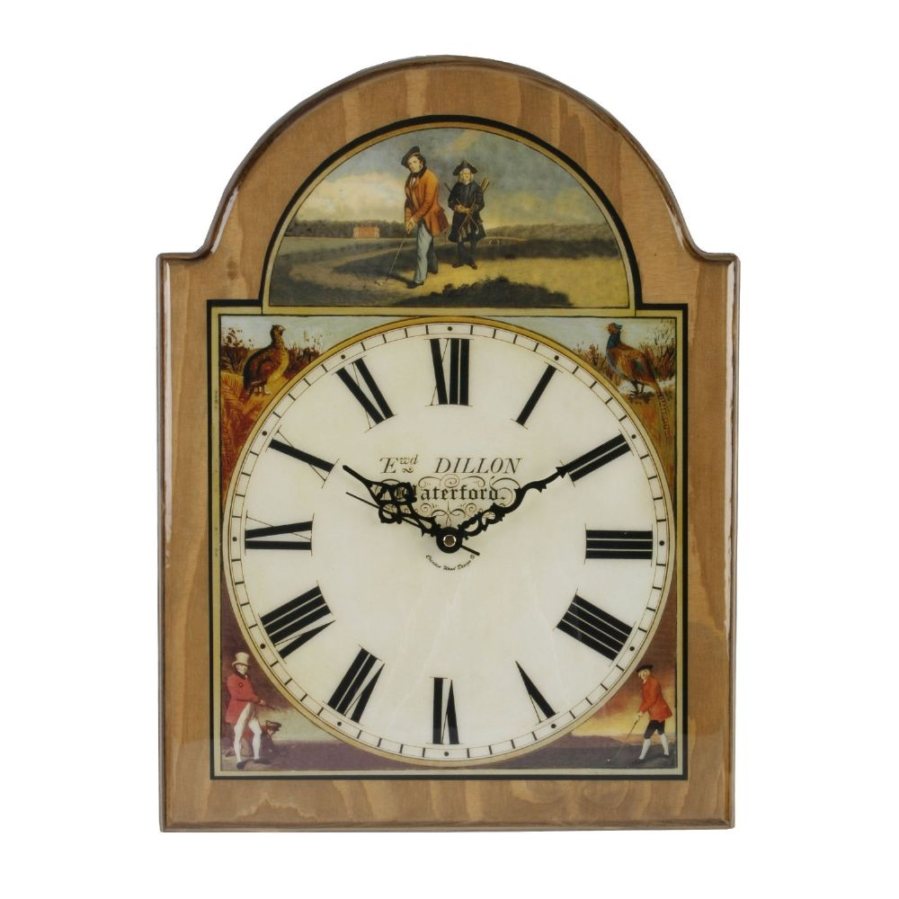 Traditional High Polished Wooden Wall Clock ~ Historical Golfing Scene Antique Pine Finish